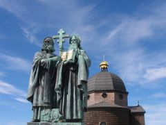 Radhost (1129 m). Chapel and statue of St. Cyril and St. Methody by <b>azereb</b> ( a Panoramio image )