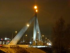 Suspension bridge over Kemijoki river in Rovaniemi by <b>Jurgen Weighardt</b> ( a Panoramio image )