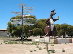 Signs and giant roo at the SA-WA border by <b>dirkus49</b> ( a Panoramio image )