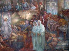 """Murale de l""""eglise Les-Trois-Moutiers by <b>FGuertin</b> ( a Panoramio image )"""