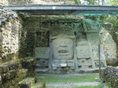 BELIZE: LAMANAI: Mask Temple [Temple N9-56] (detail of nine-foot by <b>Douglas W. Reynolds, Jr.</b> ( a Panoramio image )