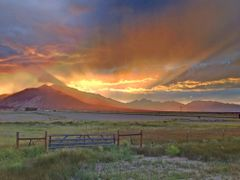 sunset behind Mt Princeton and Mt Yale by <b>JGuerra</b> ( a Panoramio image )