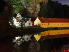 Night view of the castle Raabs and the river Thaya  by <b>Karel H.</b> ( a Panoramio image )