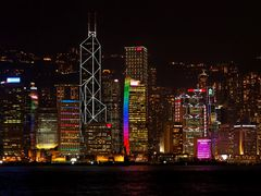 Hong Kong Island Skyscrapers At Night by <b>ChiefTech</b> ( a Panoramio image )