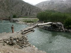 Pedestrian Bridge over Panjshir river by <b>© Morrique</b> ( a Panoramio image )