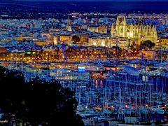 Vista nocturna de Palma mas colorista aun, desde el Catillo de B by <b>Angel Gonzalez</b> ( a Panoramio image )