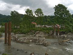 Clogged Repedea creek bed and ruined bridge by <b>Tomas K?h?ut</b> ( a Panoramio image )