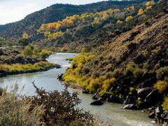 Looking south, Rio Grande canyon near Velarde, NM by <b>kmhpix</b> ( a Panoramio image )