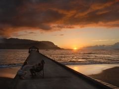 Sunset from Hanalei Pier - 200804 by <b>Larry Workman QIN</b> ( a Panoramio image )